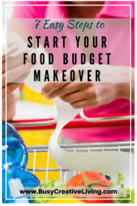 Woman holding receipt at cart. 7 Steps to Start Food Budget Makeover