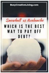 Debt Snowball vs Avalanche Comparison. The Busy Creative