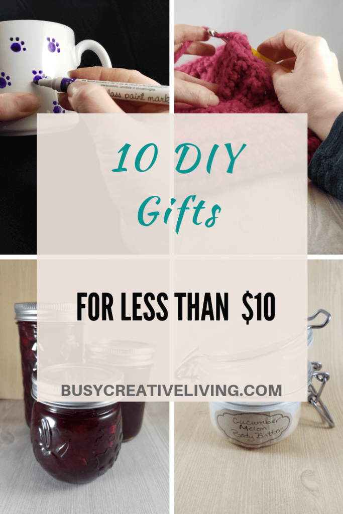 DIY gifts- mug, crochet, jam, lotion.