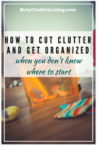 Cut clutter and get organized. Organized box at the Busy Creative