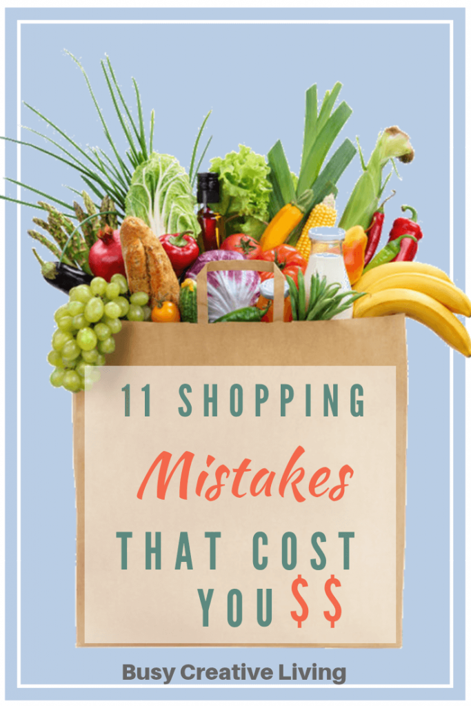 Grocery bag with foods. Mistakes at the store that cost you
