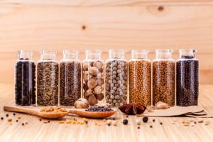 Spices in jars. Bulk aisle spices cut your grocery bill.