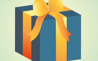 Blue gift with yellow ribbon