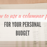 Yellow column pad for personal budget