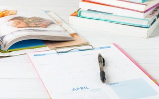 Meal planning calendar and cookbooks