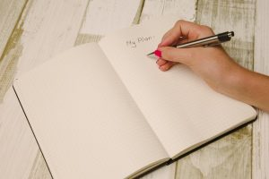 Woman writing in notebook. Meal planning.
