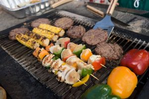BBQ grill with food. Budget for food, games and supplies for family events.