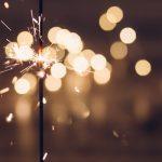 Sparkler with fireworks.