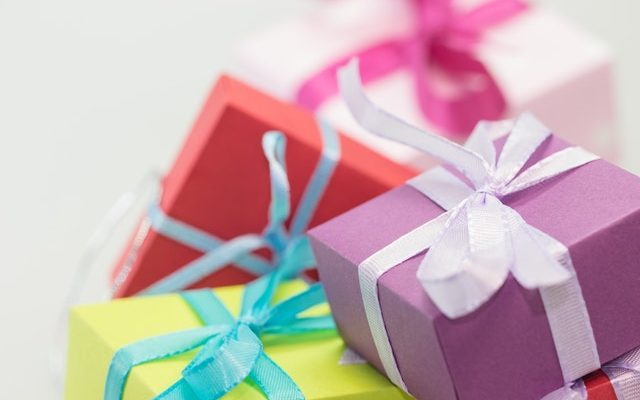 Colorful wrapped gifts.