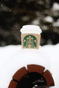 Coffee cup in the snow.