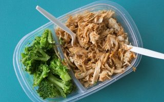 chicken, rice and broccoli in a packed lunch container