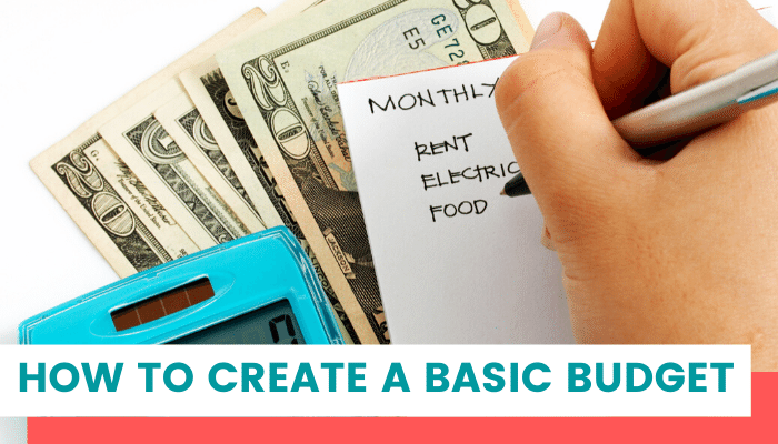 Hand writing budget with cash. Basic budget