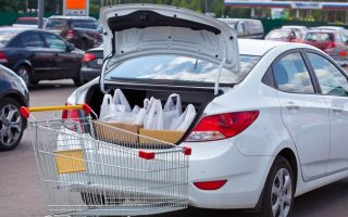 Grocery order in trunk