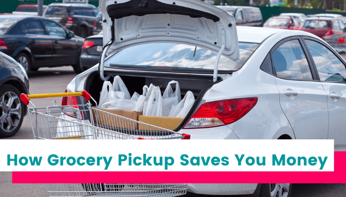 Grocery pickup bags in car trunk. How grocery pickup saves you money.