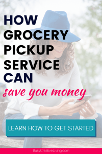 Woman on phone. How ordering grocery pickup service saves money