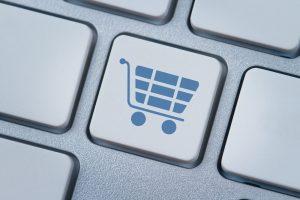 Shopping cart key on computer