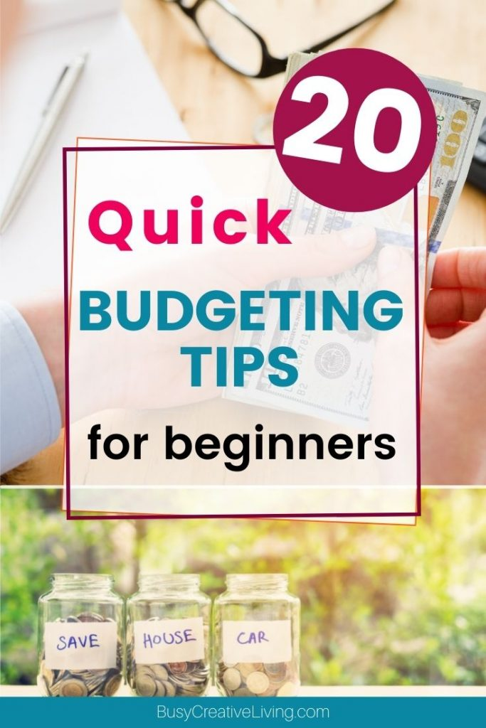 20 Quick Budgeting Tips for beginners. Hands with cash and budget jars